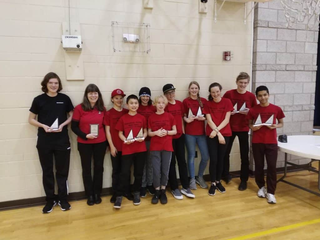 Steamboat Springs Middle School Math Team took first place team and all of the top individual places at Western Slope Chapter Competition in Grand Junction on February 22, 2020. From left: Asst. Coach Shane Lambert, Coach Sally Lambert, Kyan Strong, Bryson Lee, Emma Russell, Charlotte Tegtmeyer, Will Hall, Charlotte Teuscher, Alena Rossi, Connor Frithsen, Prasanta Sapkota. The team travels to Denver for state competition on March 14. Photo credit: Jim Lambert.