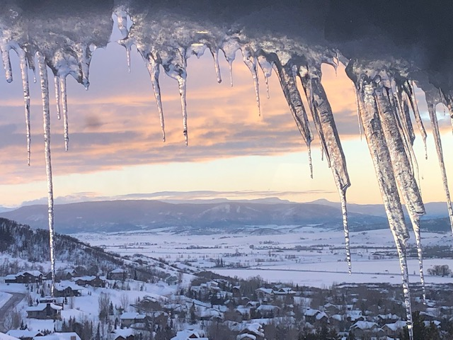 Alpenglow and icicles