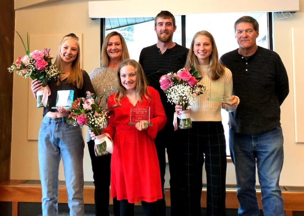 Adele Dombrowski Award winners, from the Steamboat Stampede Youth Hockey Association Congratulations to this year's Adele Dombrowski Award winners: (left to right) Charlotte Wilson (U19), Audrey Becker (U12), and Mia McNamara (U15). Not pictured: Jessica Bell (U10). Adults are Kris Stouffer (Adele's mom), Adele's brother Jake Dombrowski, and then Adele's Dad, Daryl Dombrowski. Photo courtesy Johrene Meyers.