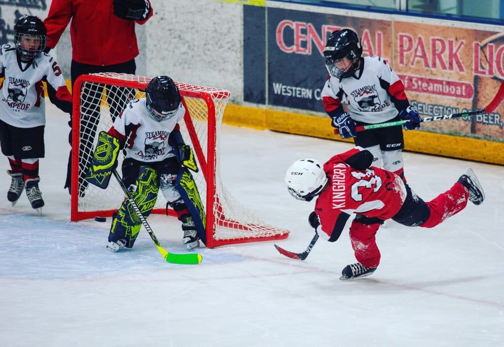 Gavin Kinghorn scores in the Mite Mini Jamboree in Steamboat this weekend. Photo courtesy Jay Kinghorn.