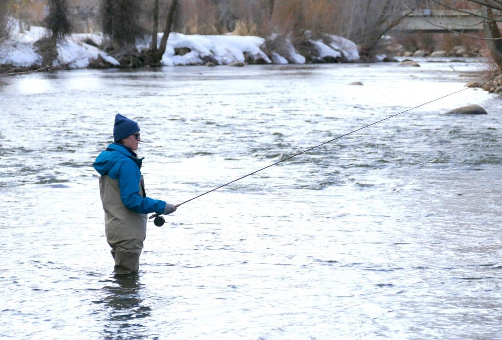 Meghan Lukens fishes the Yampa River. Meghan is home in Steamboat. She is a high school teacher in Boulder County.