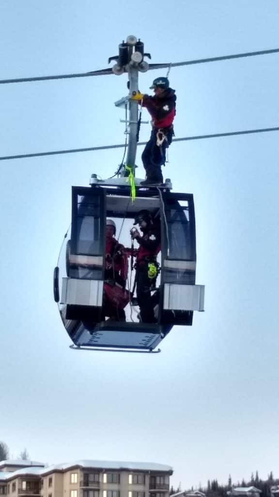 I was at the base area on Monday, March 2. Saw some patrollers climbing on a gondola cabin... obviously some kind of training exercise.