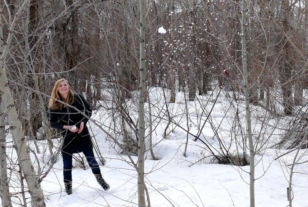 We just walked the Core Trail along the Yampa River in Steamboat. Libby is home from college and had a snowball fight with her dad. Kind of fun pics. The second picture is the good one as you can see the snowball flying through the trees, about to land on Libby.