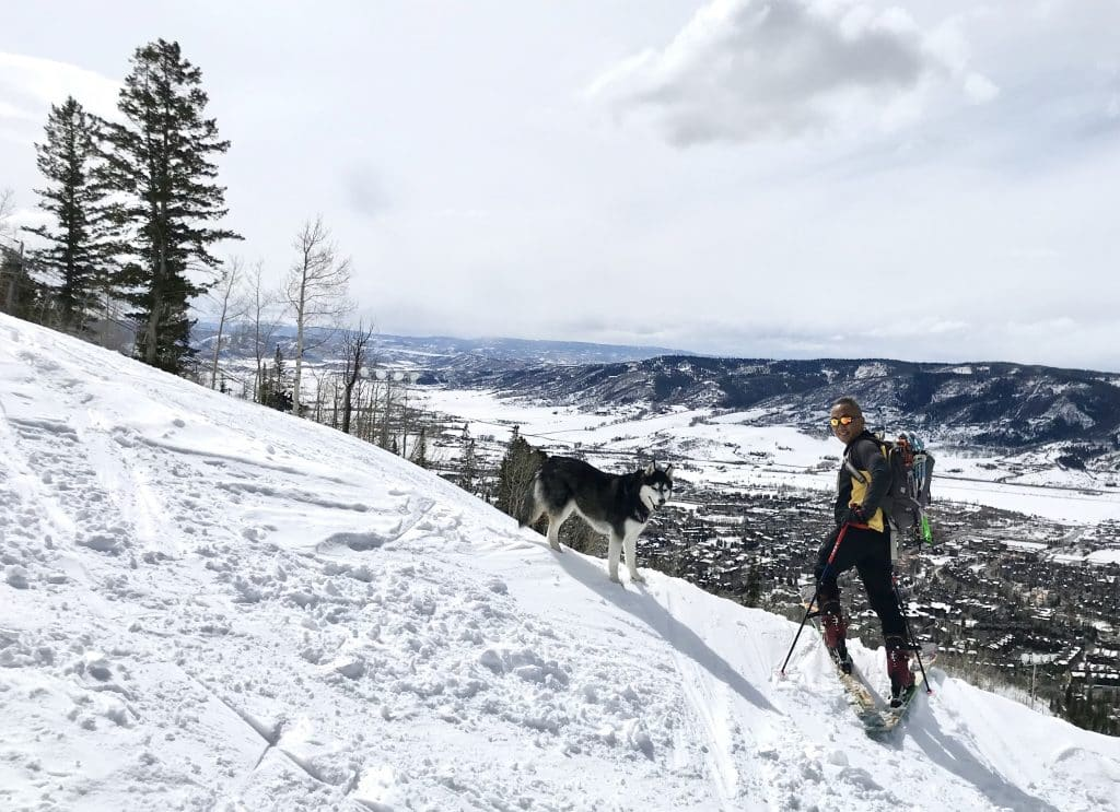 A man and his dog in Steamboat Springs.