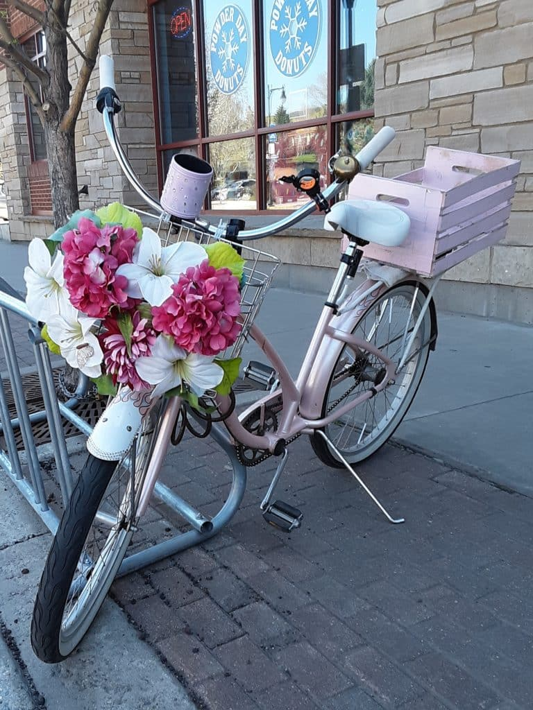 This cheery bike was in front of the donut shop this morning.