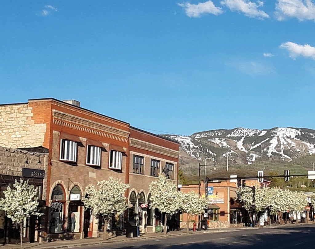 Downtown Steamboat Springs: where the lights are bright and the trees are blooming.