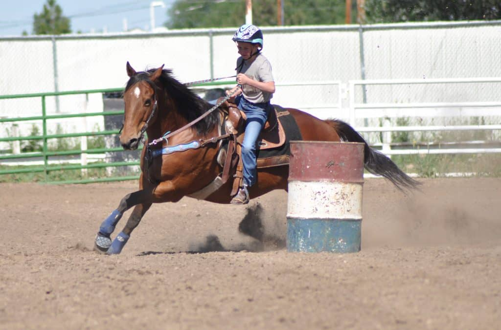 Sierra Costner rounds the last barrel on her horse Dash before she heads home at the Hayden Horsepower Gymkhana at the Routt County Fairgrounds on June 20, 2020.