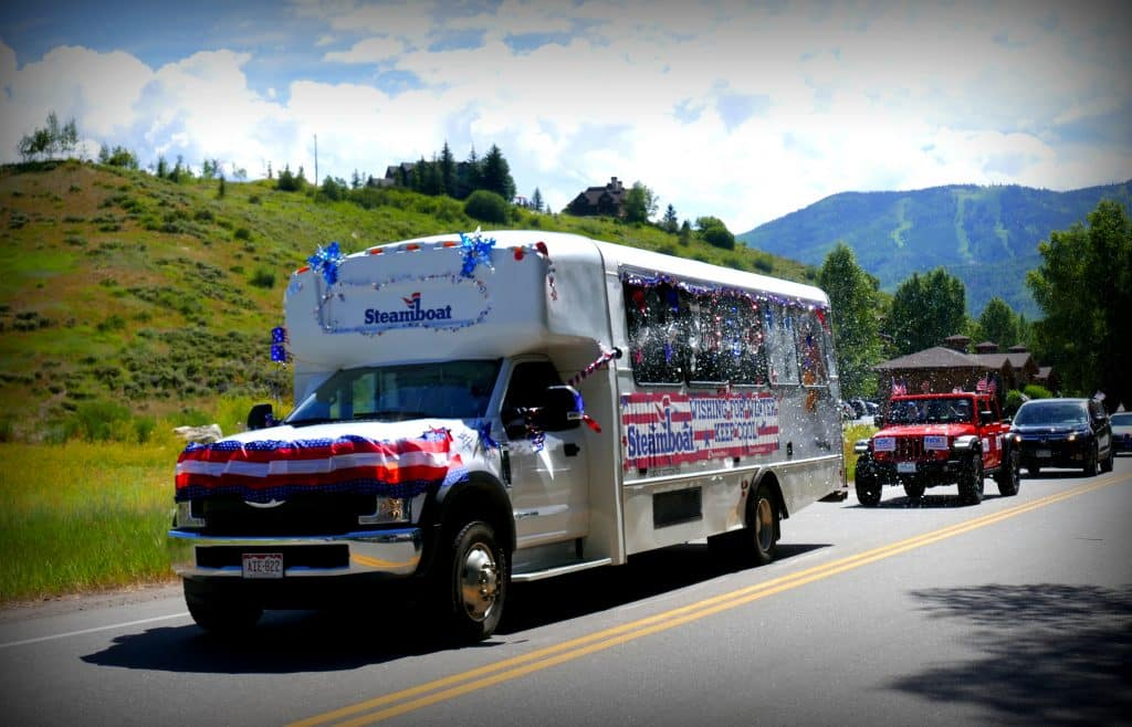 Here are some pictures from today's Red, White, and Blue Drive-through in Steamboat Springs.