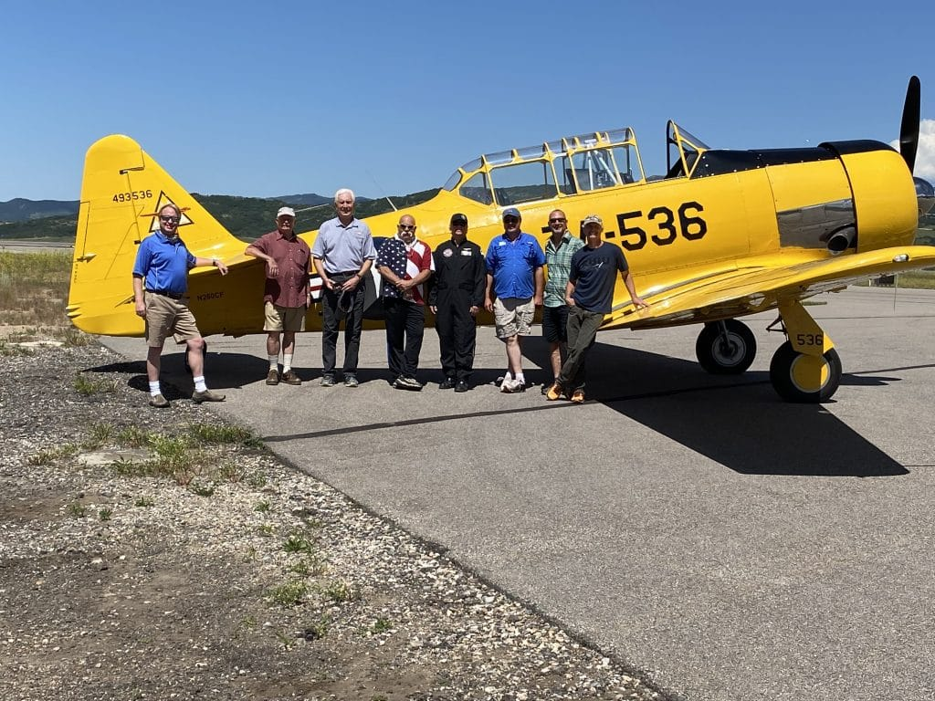 This is the team of local Steamboat pilots performed a flyover on the 4th of July. From left to right: Greg Effinger, Jack Dysart, Scott Alperin, Joepete Laruso, Erik Stone, John Byrne, John Williams, Michael Sisk.