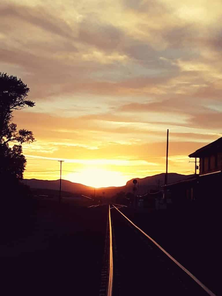 Summer sunset looking down the tracks in Steamboat Springs.