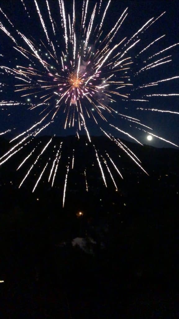 Fireworks by the full moon