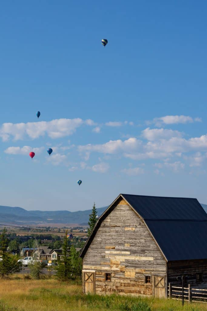 Hot Air Balloon Rodeo and the Arnold Barn in Steamboat Springs.