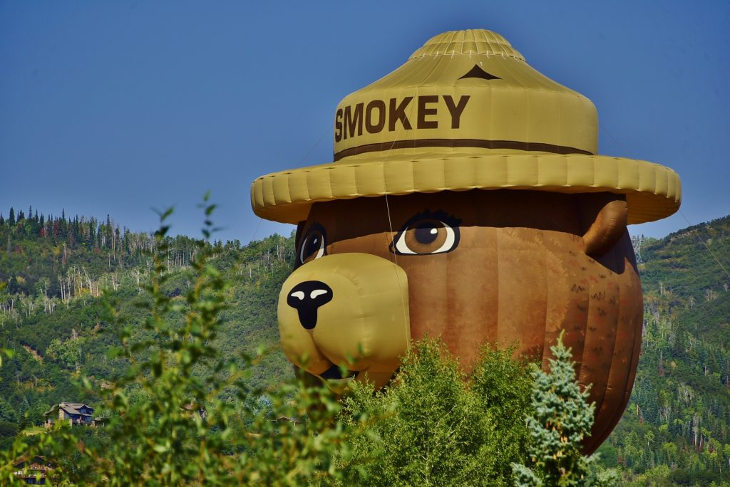 Smokey the Bear keeps a watchful on out for wildfires.