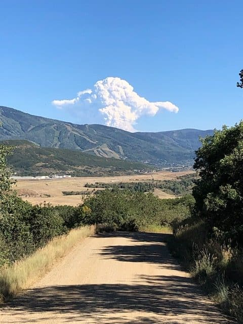 Cameron Peak Fire Smoke eruptionover Mt Werner. As seen from Deer Mountain on Saturday August 15 late afternoon.