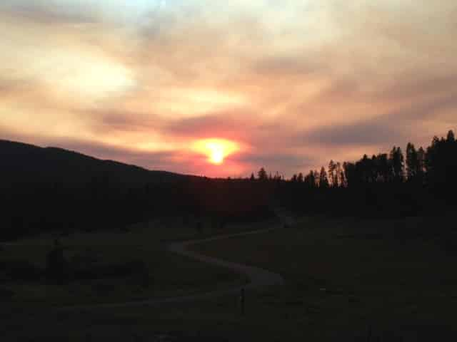 Smokey sunset over South Routt