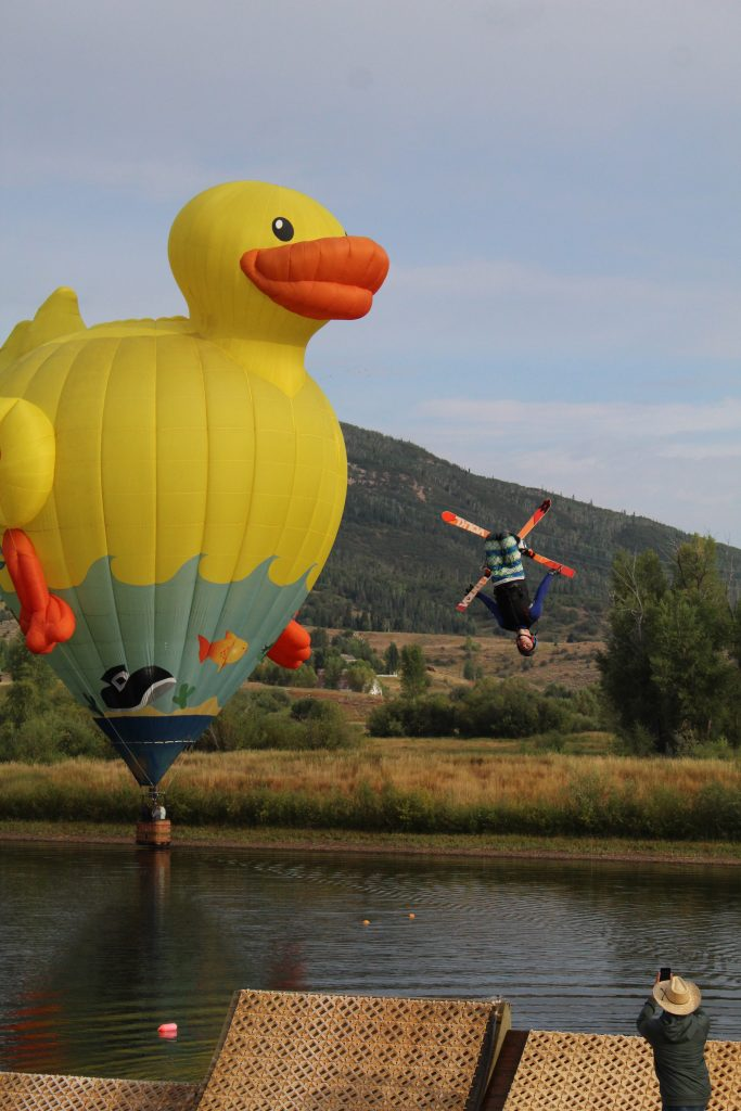 I took some photos at the water ramps today during the balloon fest and thought they could be part of the paper's usual article about the festival. They just seemed to capture the Steamboat feeling. The athlete in both photo's is Christopher Stone of SSWSC
