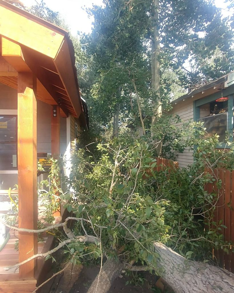 Freshly finished front porch by Timberline, holds strong to heavy winds and a falling tree.