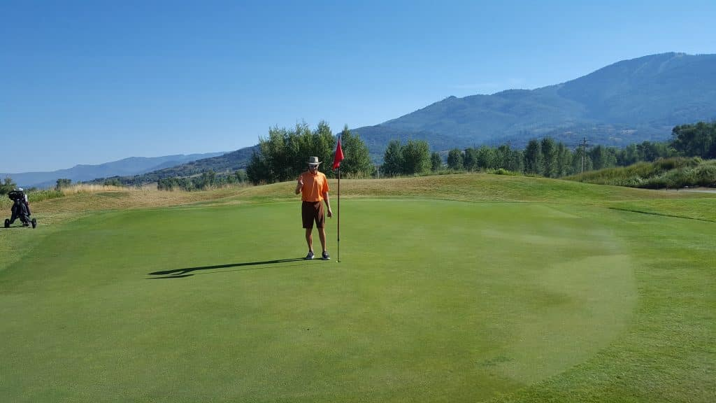 Scott Halliday makes a hole-in-one on Hole #7 at Haymaker Golf Course on Sunday, August 9th at 9:15 a.m.