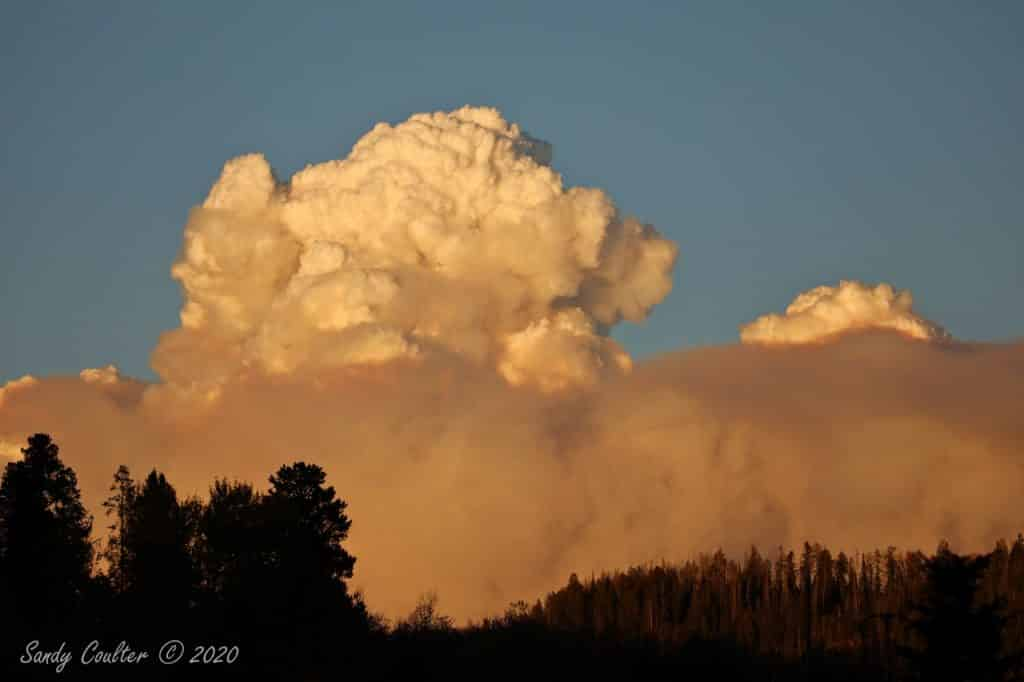 Southern Wyoming fire makes its own cloud. Photo taken near Clark, CO
