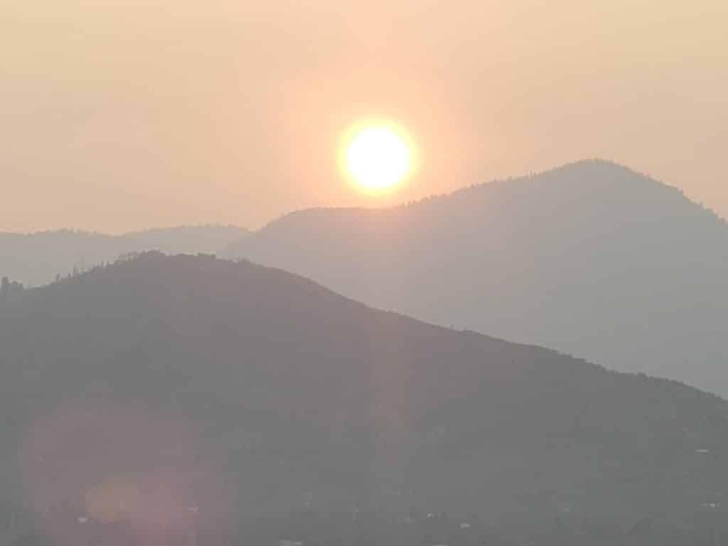 Smoky sunrise in Routt County.