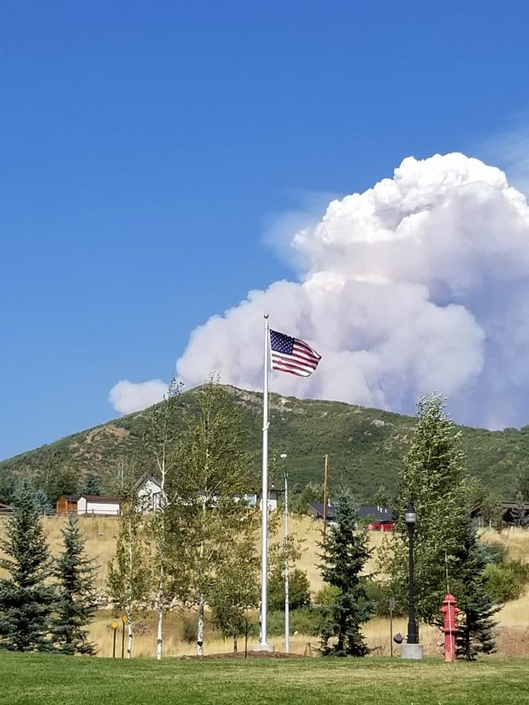 Mad Creek fire. Come on moisture! Photo from Bike trail by Transit center.