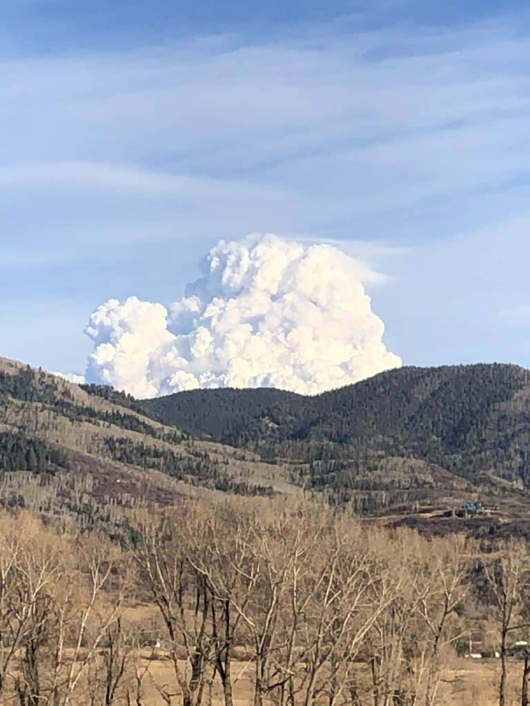 Smoke seen from Walton Creek Canyon.