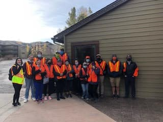 The Vacasa Team getting ready to clean the section of highway they adopted!