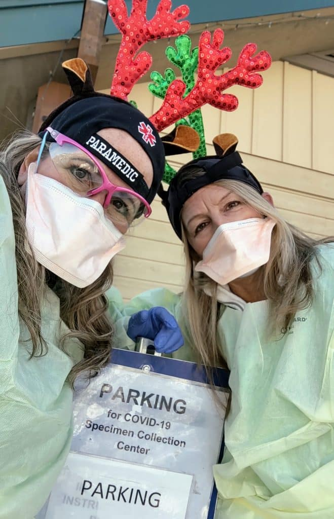 At the UCHealth COVID-19 Specimen Collection Center, Aly Morganstein, RN, and Tiffanie Cook, MA, are getting in the holiday spirit and making people smile during a difficult time.