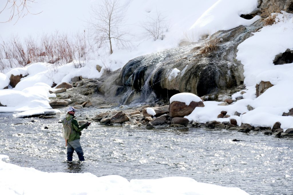 Fishing in Winter at the Steamboat Spring
