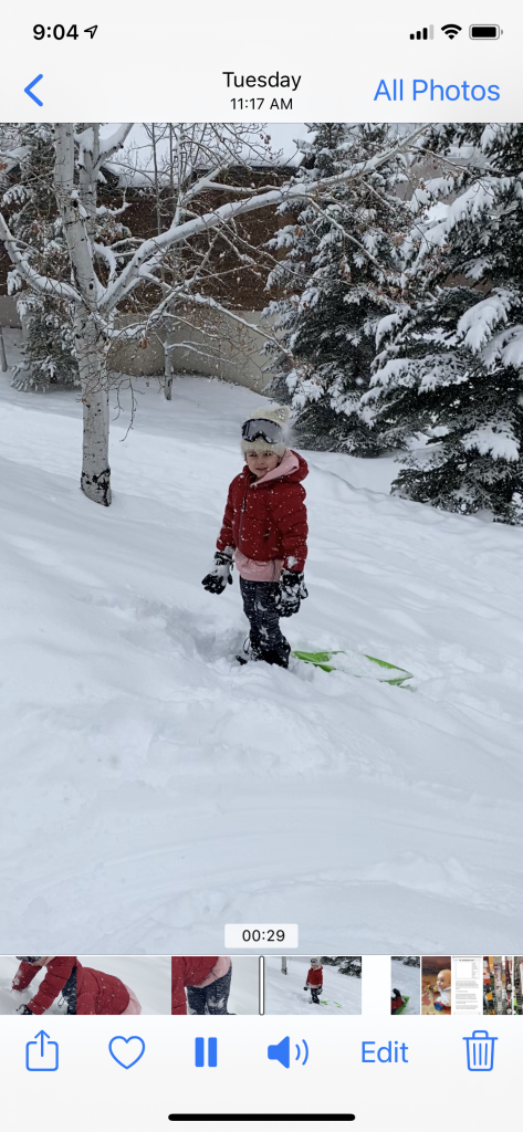 "Sledding in Steamboat after Fresh Six"" of SNOW after Skiing her 1st Black Diamond Run!"