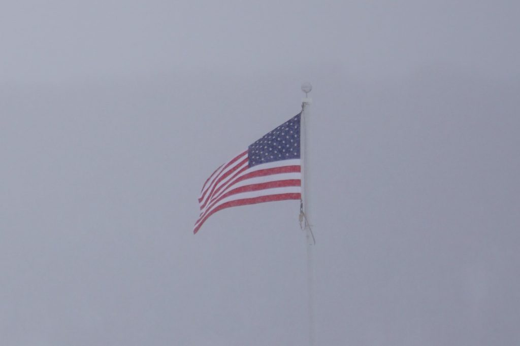 American Flag in the Snow