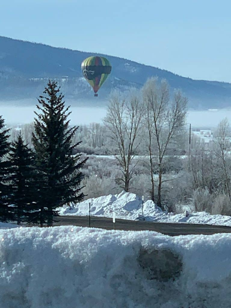 I snapped these as I was driving home (I pulled over) to Denver this morning. What a breathtaking day, and it was so fun to see the balloon out! I grew up in Steamboat and consider it my second home!