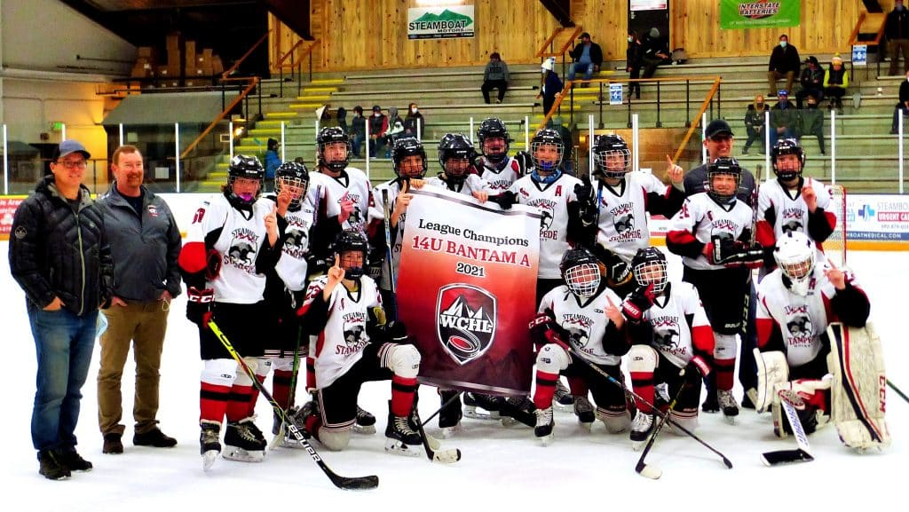 Congratulations to the Steamboat 14UA Champions in the WCHL (Western Colorado Hockey League). They beat the Glenwood Grizzlies today, 5-2, to advance on to the state finals March 26-28 in Denver. The Steamboat 14UA Team is ranked #1 in the state.   ·       Max Znamenacek is the Captain. His mom is Kate and her number is 970-846-9852 ·       SSYHA Director of Hockey Ryan Dingle 970-846-2672
