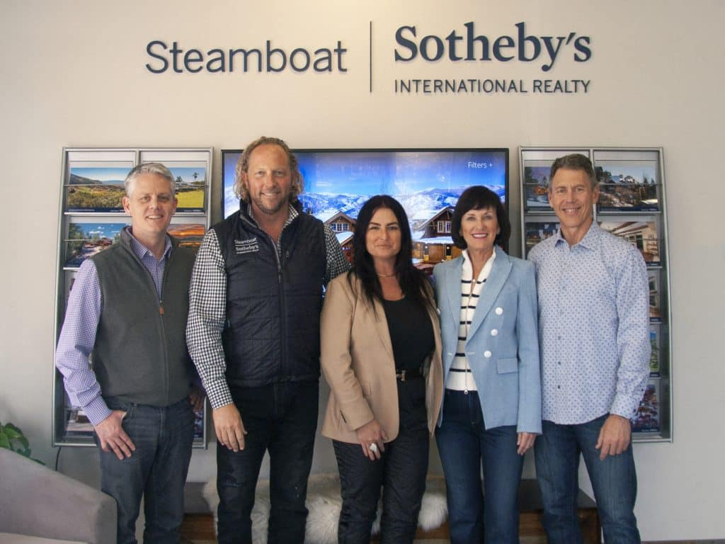 Cam Boyd, Pam Vanatta, and David Baldinger Jr.,have sold their ownership in Steamboat Sotheby's International Realty to Jeff and Olivia Horning as of April 15, 2021. (Photo courtesy of Steamboat Sotheby's)