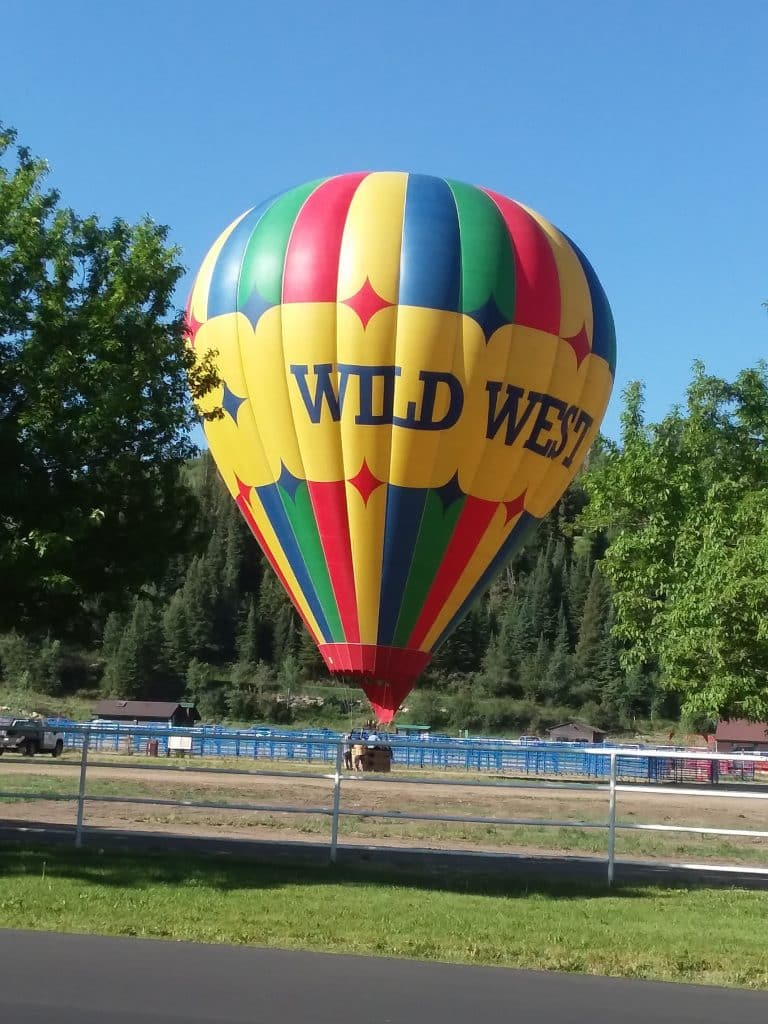 Hot air balloon landing at Howelsen Rodeo Grounds in Steamboat Springs.