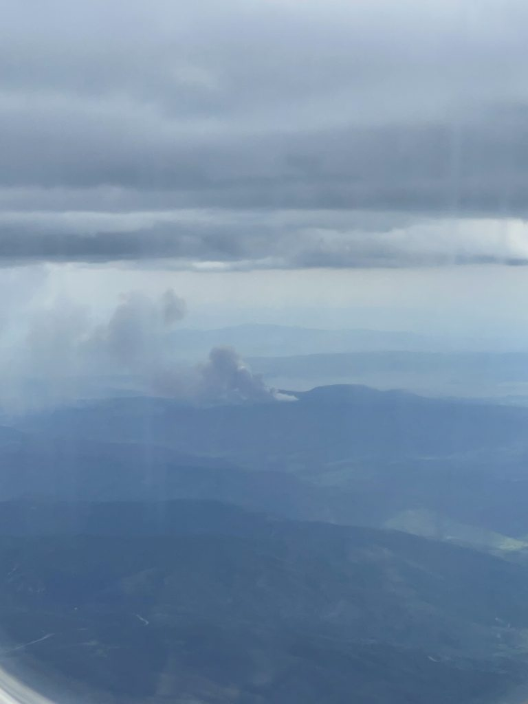 Here is a picture of the fire near stagecoach from the air, right as it was starting.