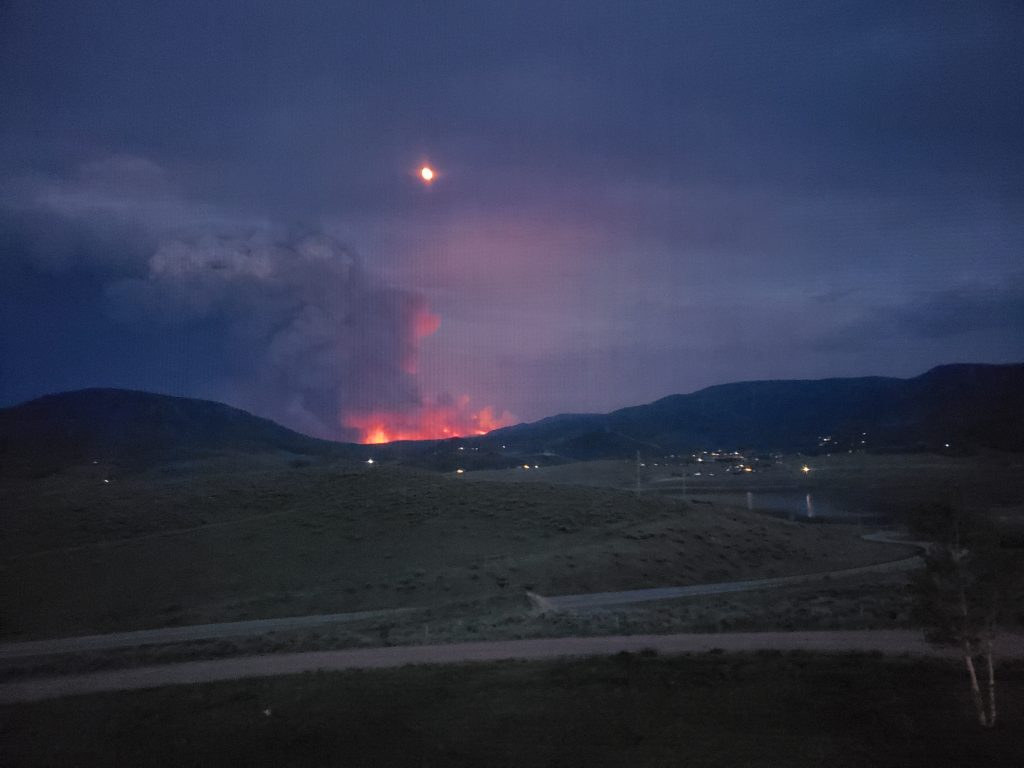 View of the Muddy Slide fire from our bedroom window