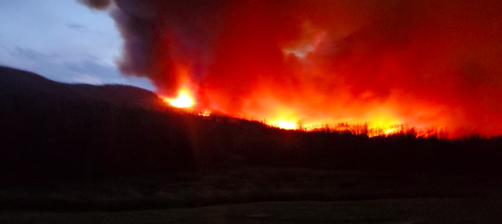 We got some shots of the Muddy Slide Fire earlier tonight. Hope everyone is out safe.
