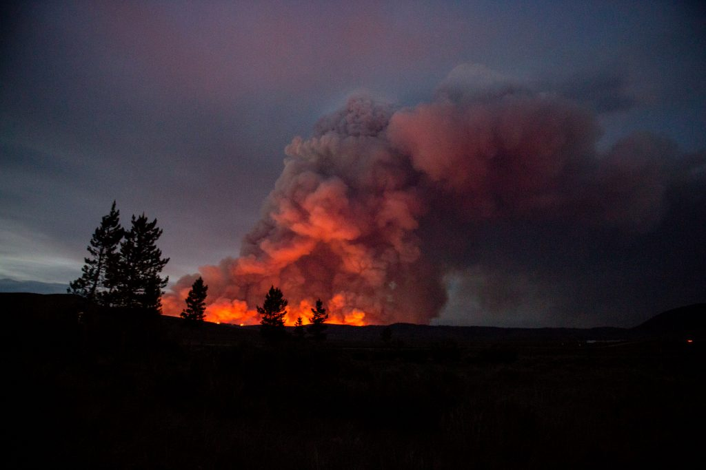 Muddy Slide Fire as seen from residence along Hwy 134 at approximately 9:30 p.m. June 22, 2021.