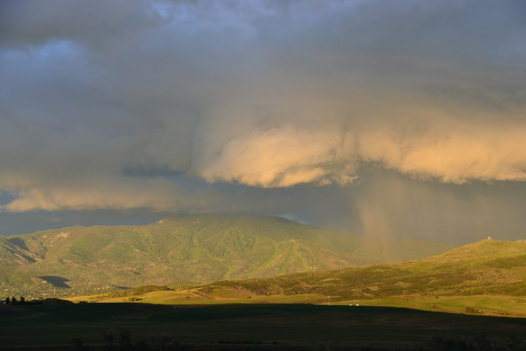The passing storm at sunset