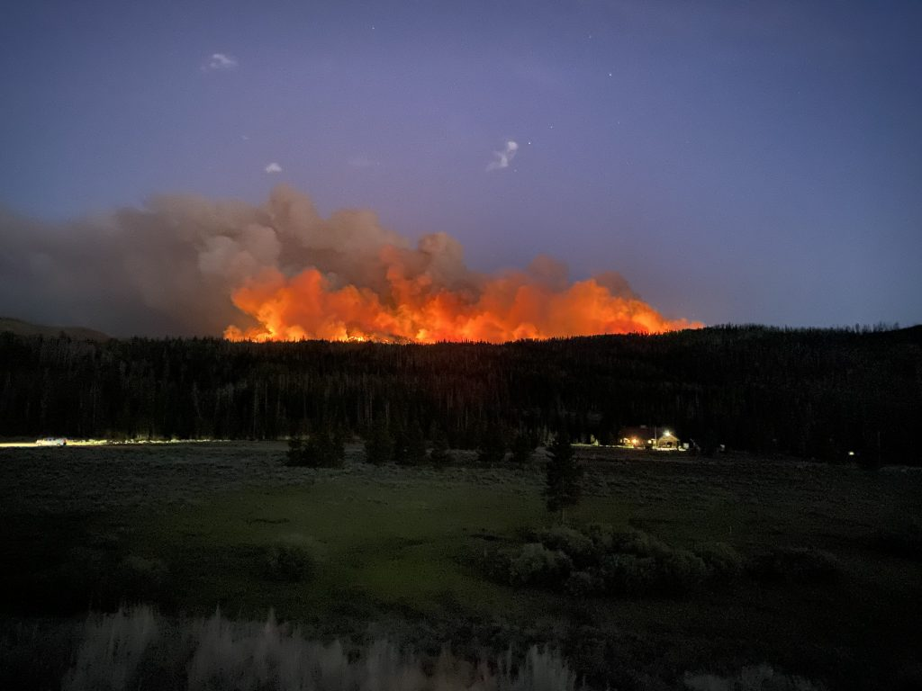 Morgan Creek Fire as seen from Seedhouse Road.