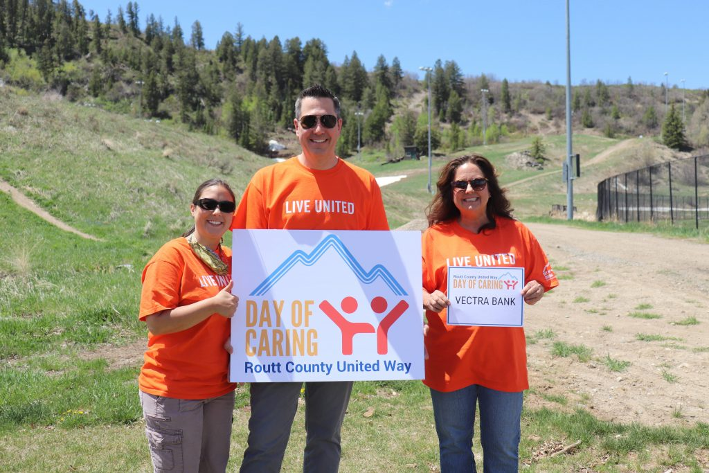 Vectra Bank employees are heavily involved in the Steamboat Springs community as volunteers. From left to right: Jessica Abate, Adam Wilson, Dona Armbruster. (Photo courtesy of Vectra Bank)