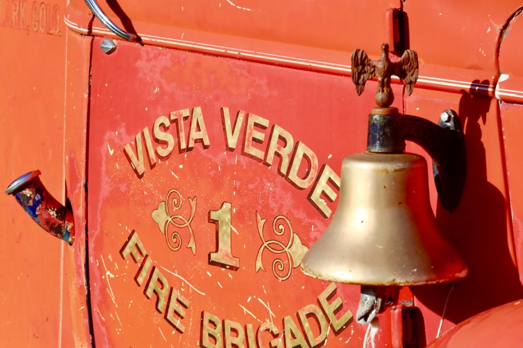 The Retired Vintage Vista Verde Fire Brigade truck. Only about 2 miles from the Morgan Creek Wildfire.