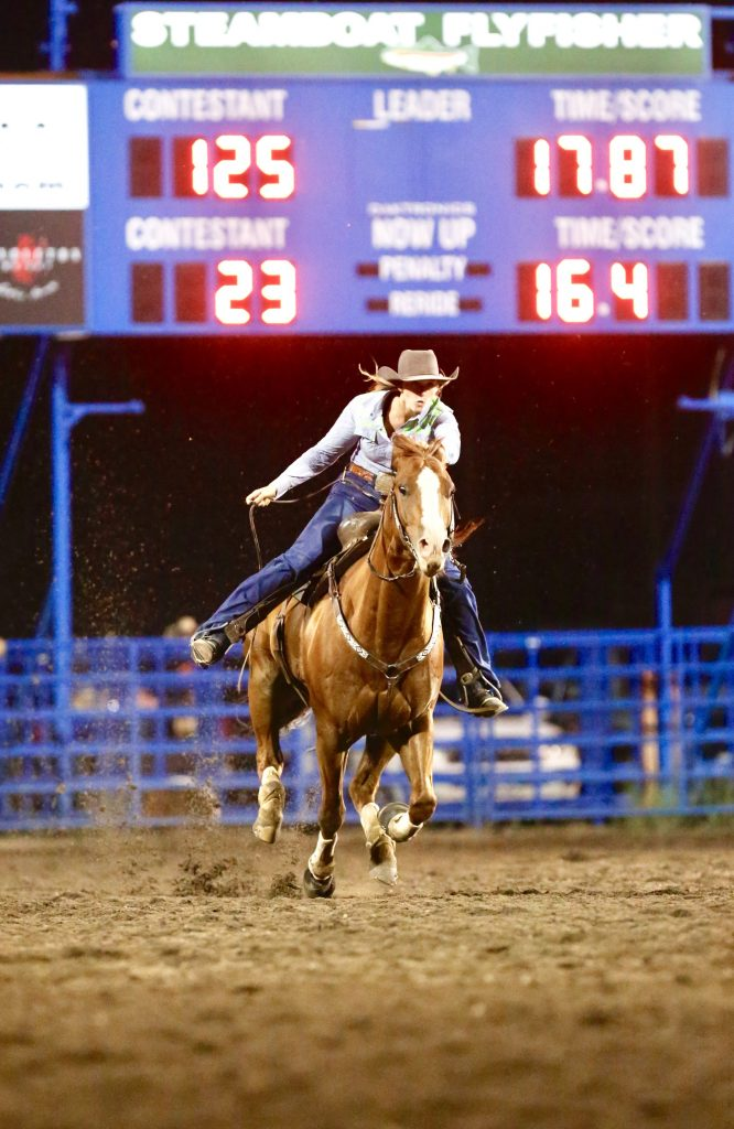 Barrel Racing at the Rodeo. Heading in for the time.