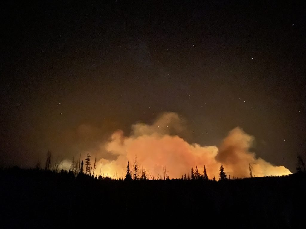 Andy Polski captures the Morgan Creek Fire looking south from Seedhouse Road at 11:25 p.m. on July 9.