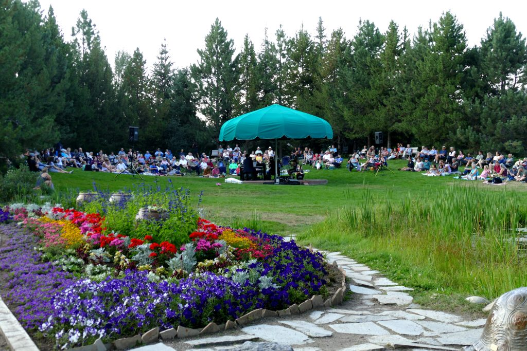 Tonight a small group from the Steamboat Symphony Orchestra played on the lawn at Yampa River Botanic Park. It was a glorious evening. The smoke has finally started to lift in the Yampa Valley.
