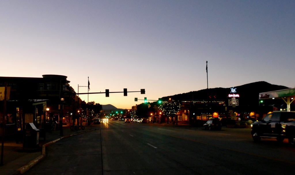 a pretty shot of Lincoln Ave. in downtown Steamboat Springs tonight, as the sun was setting.