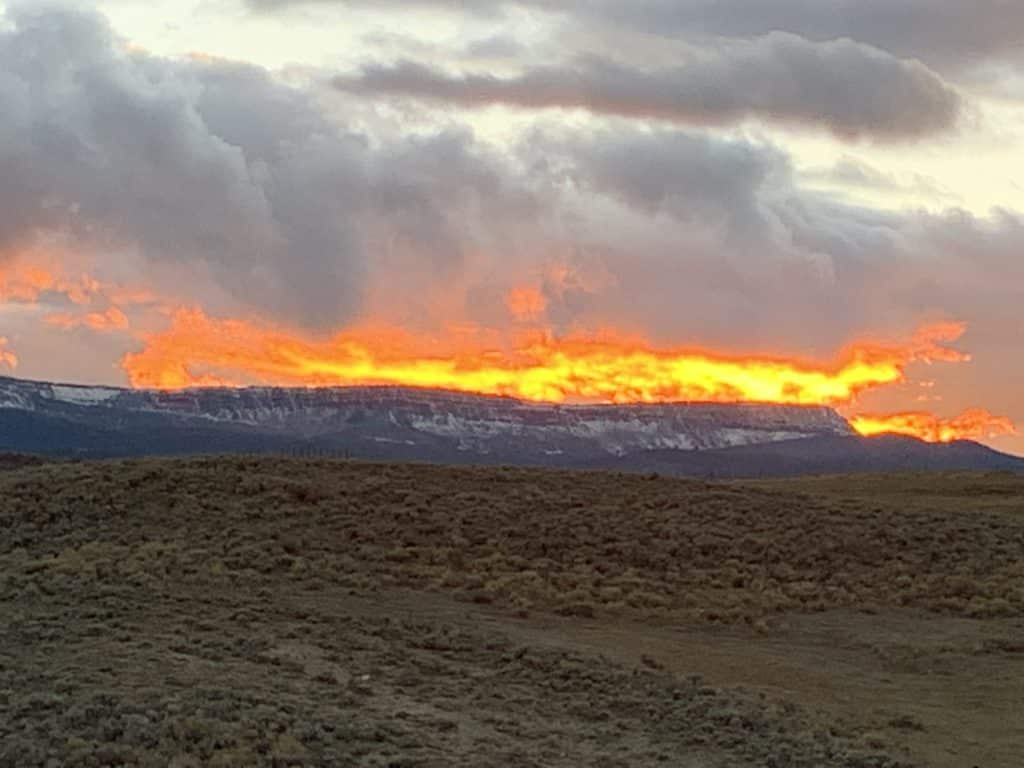 Captured by iPhone (no filter), Sunset over the Flat Tops in Yampa, CO